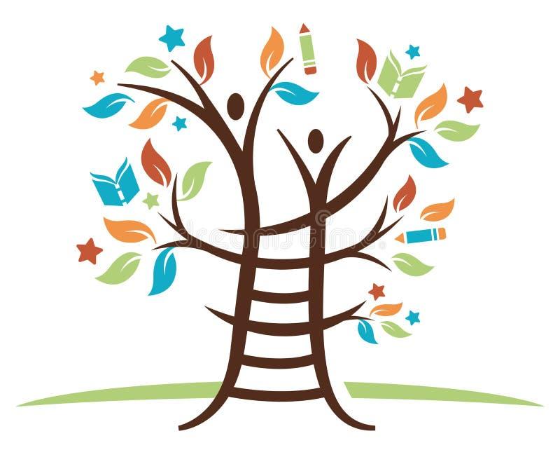 Stege som lär trädet stock illustrationer