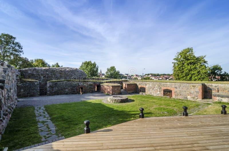 Stegeholm castle ruin Vastervik. (Swedish: Västervik). Kalmar County, Sweden royalty free stock photos