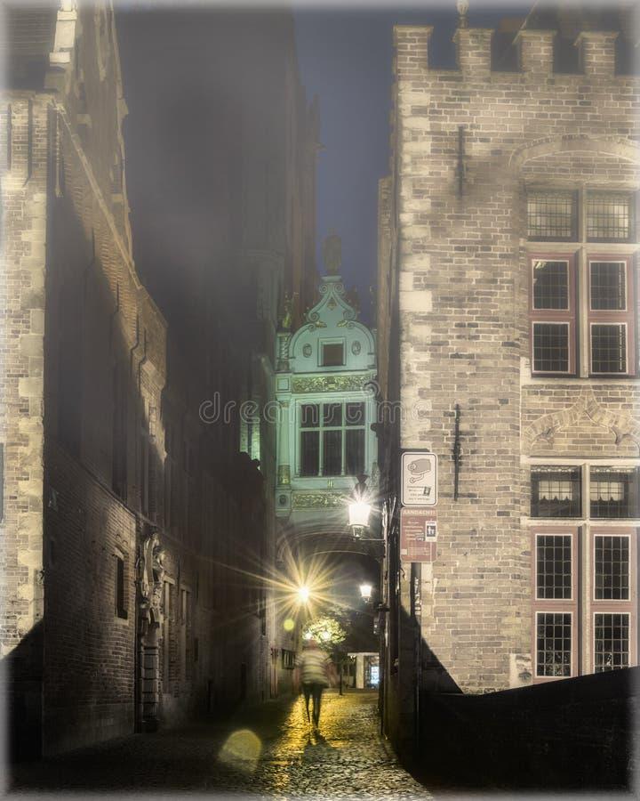 Stegen en smalle passages van Brugge, België bij nacht royalty-vrije stock afbeeldingen