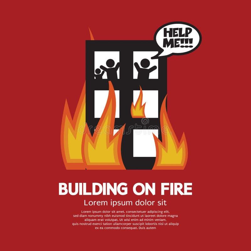 stegen för byggnadsbrandbrandmannen ut sätter royaltyfri illustrationer