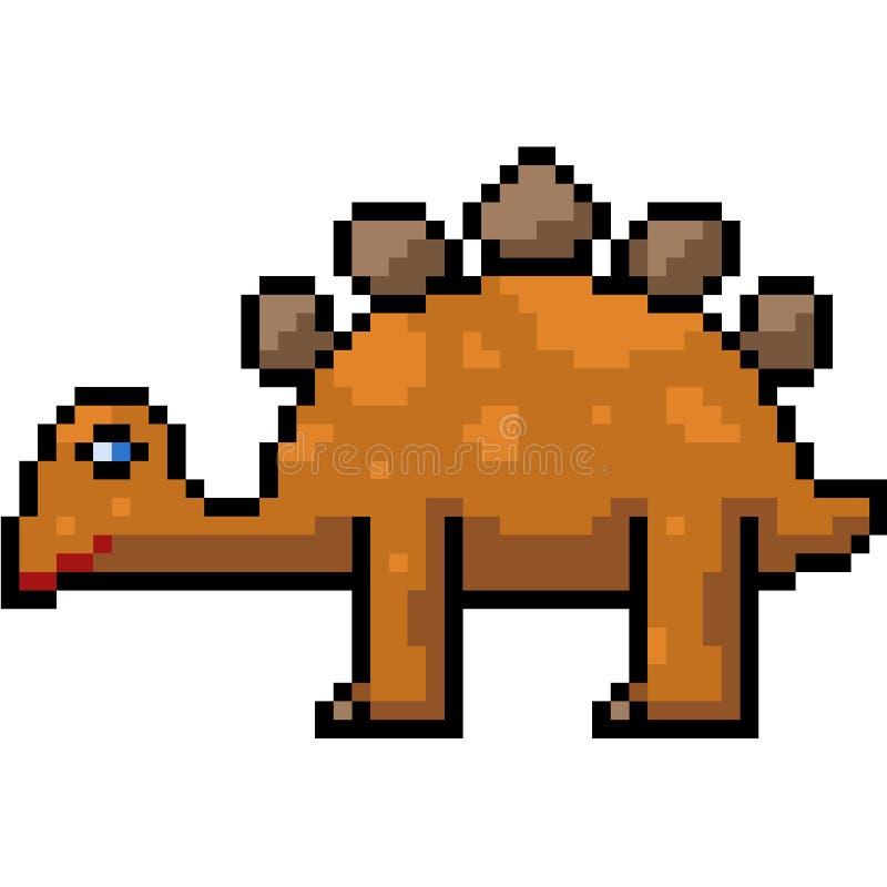Stegosauro di arte del pixel di vettore royalty illustrazione gratis