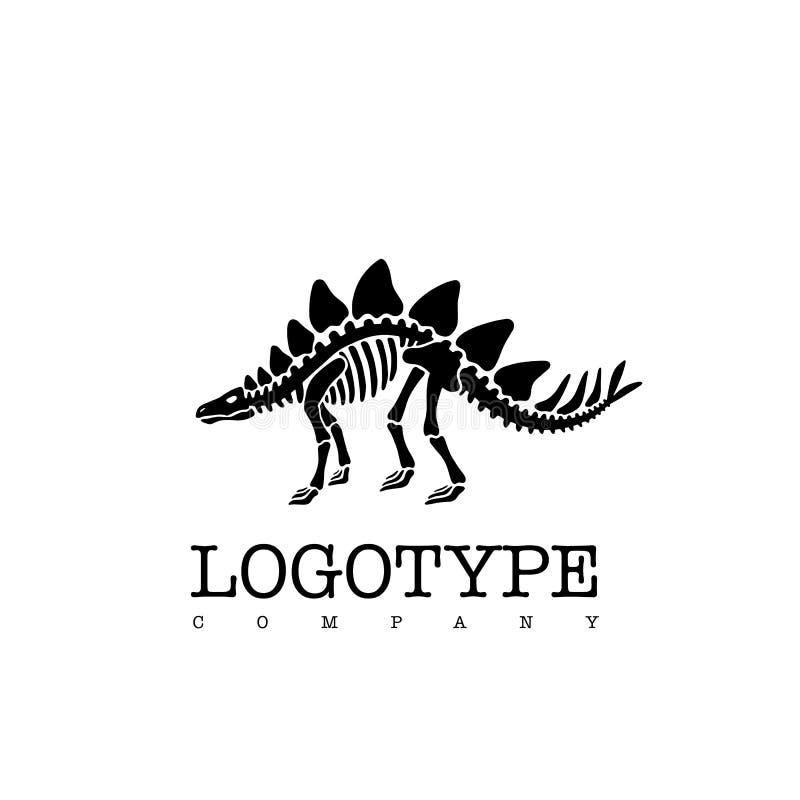 Stegosauro di scheletro del dinosauro del logotype di vettore isolato su fondo bianco illustrazione vettoriale