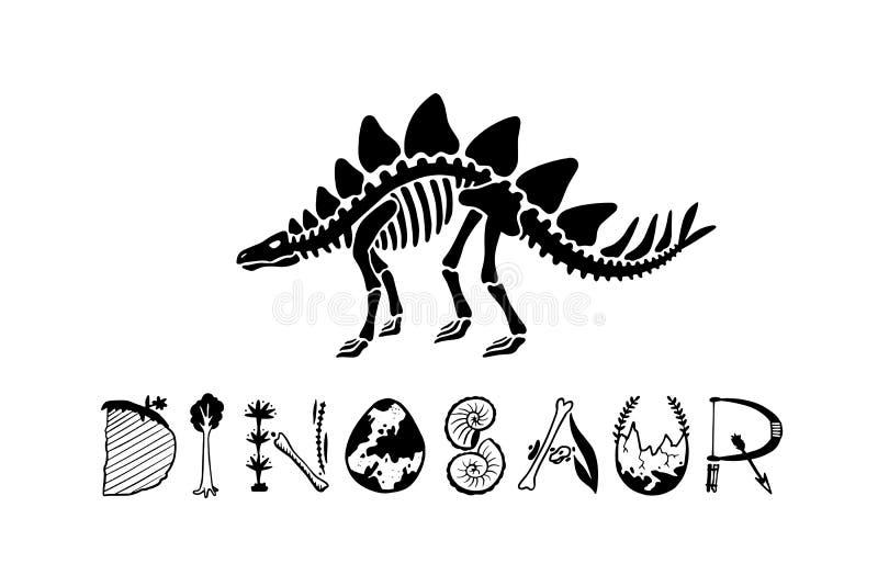 Stegosauro di scheletro del dinosauro del logotype di vettore isolato su fondo bianco illustrazione di stock