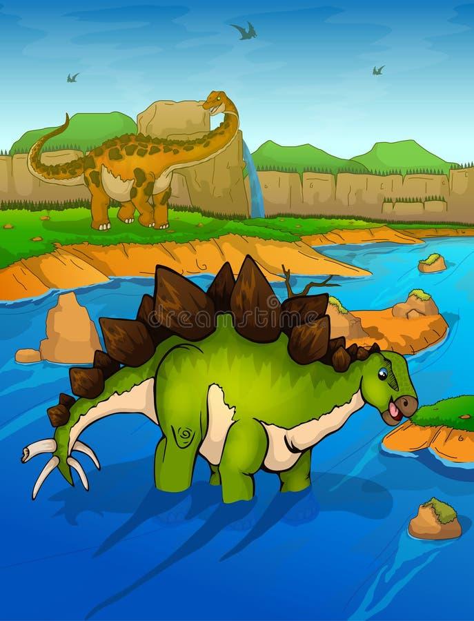 Stegosauro sui precedenti del fiume immagine stock