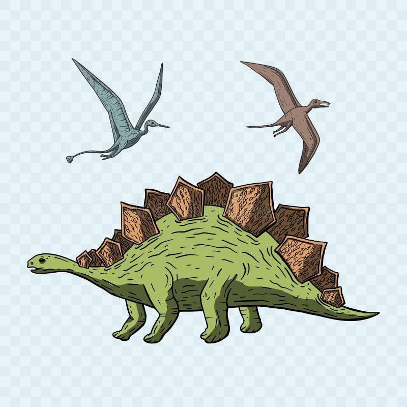Stegosaurus en Pteranodon-Dinosaurus stock illustratie