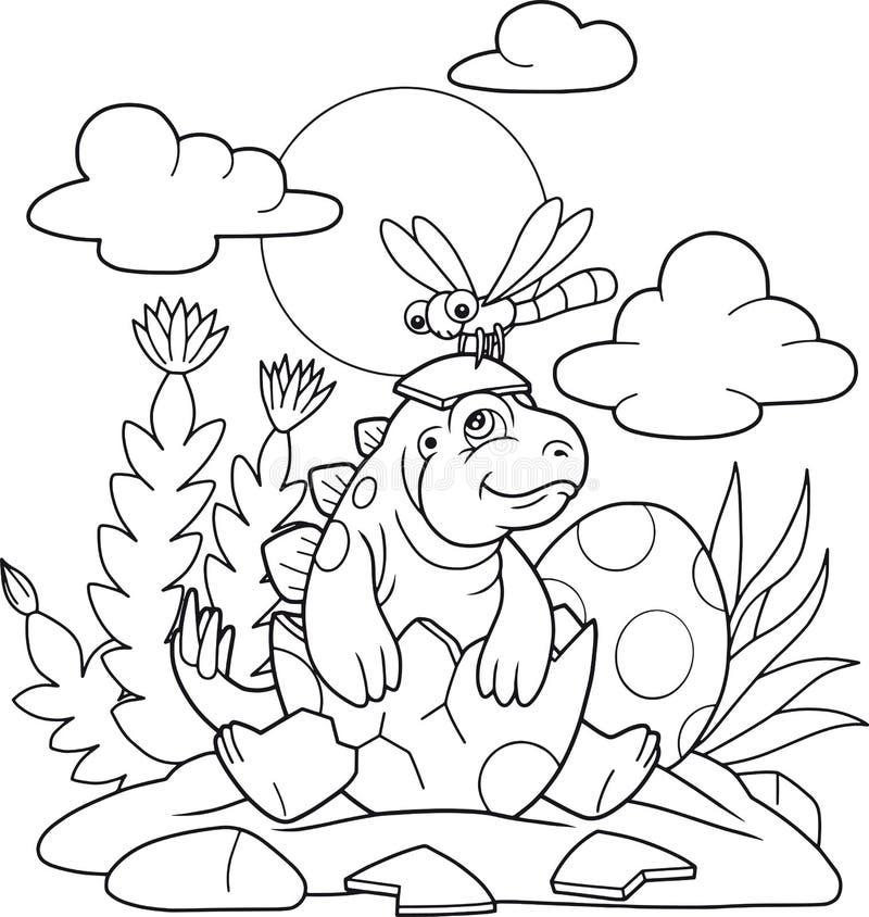 Stegosaurus haché des oeufs illustration de vecteur