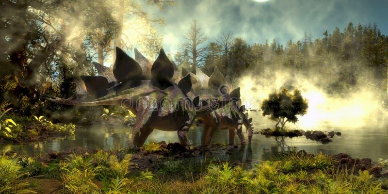 Stegosaurus im Sumpf lizenzfreies stockfoto
