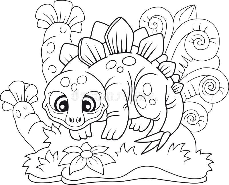 Stegosaurus lindo, libro de colorear divertido del ejemplo ilustración del vector