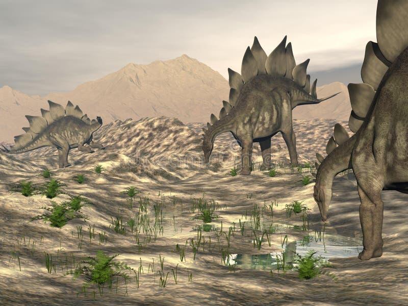 Stegosaurus near water - 3D render stock illustration