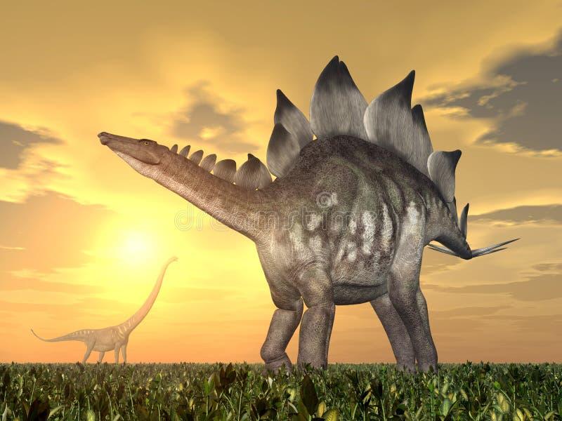 Stegosaurus och Mamenchisaurus stock illustrationer