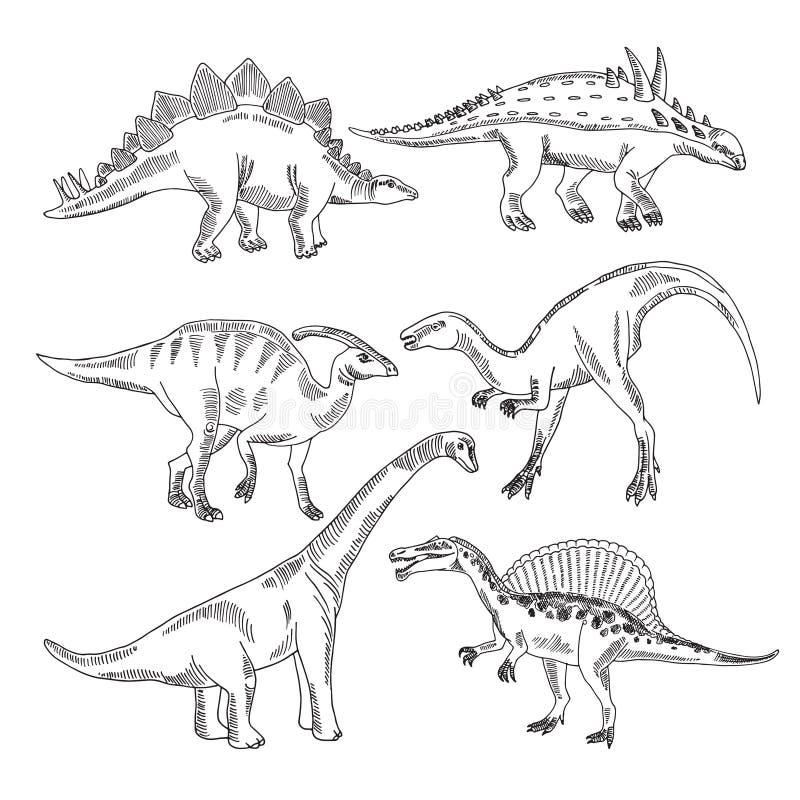 Stegosaurus, Triceratopstyrannosaurus und andere Dinosaurierarten Gezeichnetes Bildisolat des Vektors Hand stock abbildung