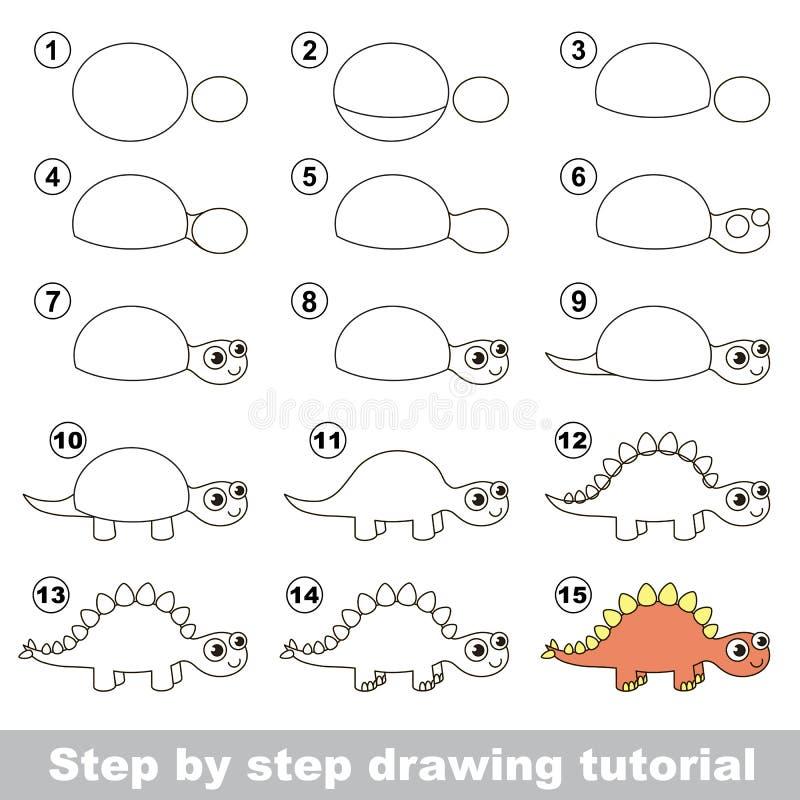 stegosaurus Tutorial del dibujo ilustración del vector