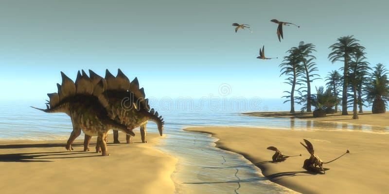 Stegosaurusdinosauriemorgon royaltyfri illustrationer