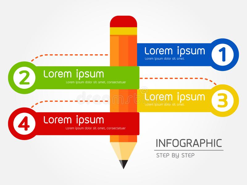 Stegvis infographic studieblyertspenna, vektorillustration royaltyfri illustrationer