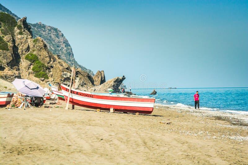 Stehat,摩洛哥- 2013年10月19日 北部莫洛克海岸地中海 免版税库存照片
