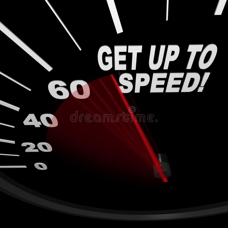 Stehen Sie auf, um - Geschwindigkeitsmesser zu beschleunigen vektor abbildung