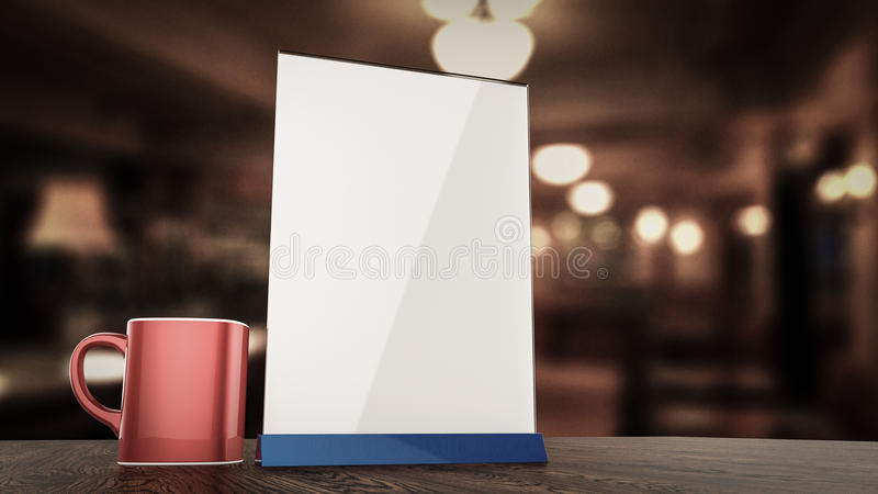 Stehen Sie für weiße Blätter Papier der Broschüren Acryltabellenzelt-Kartenmodell auf hölzernem mit unscharfem Hintergrund der Sc lizenzfreie abbildung