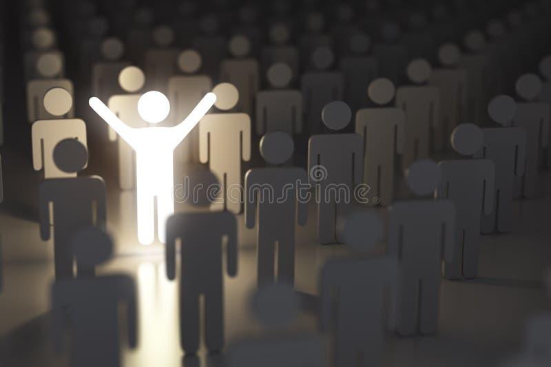 Stehen Sie heraus vom Mengen-, Unterschied- und Führungskonzept Mann lizenzfreie abbildung
