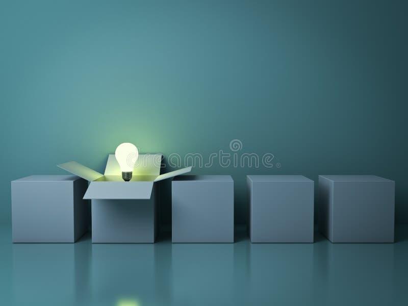 Stehen Sie heraus von den verschiedenen kreativen Ideenkonzepten der Menge, ein Weiß geöffneter Kasten mit dem Glühlampeglühen de vektor abbildung