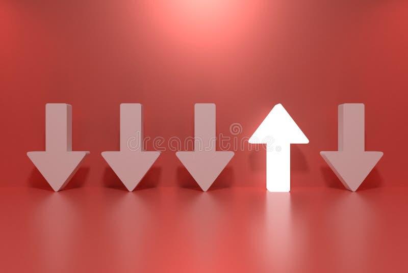 Stehen Sie heraus von der Menge und vom unterschiedlichen Konzept, ein glühender heller hoher Pfeil unter anderen unten Pfeilen vektor abbildung