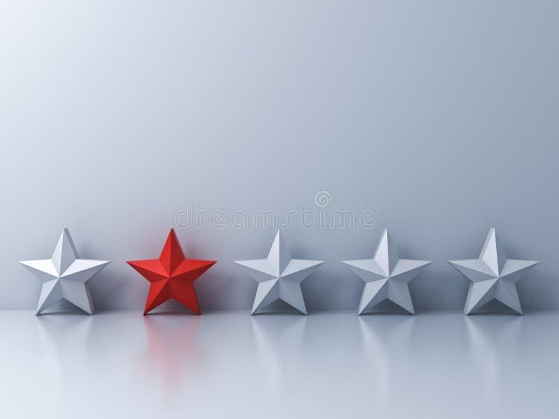 Stehen Sie heraus von der Menge und vom unterschiedlichen Konzept, ein roter Stern, der unter Weißsternen auf weißem Wandhintergr stock abbildung