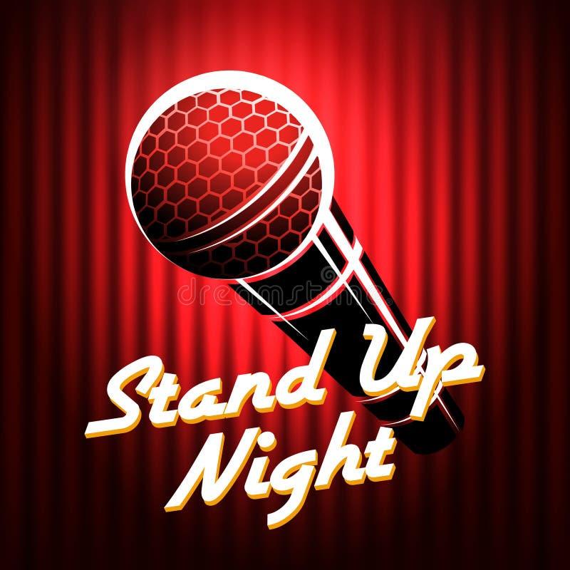 Stehen Sie oben Schauspieler-Nachtshow-Plakat-Schablone vektor abbildung