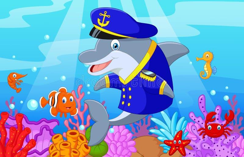 Stehend wenig Karikatur Delphin unter Verwendung einheitlichen Kapitäns mit Sammlungsfischen stock abbildung