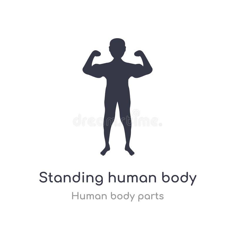 stehende Entwurfsikone des menschlichen Körpers lokalisierte Linie Vektorillustration von der menschlichen K?rperteilsammlung edi stock abbildung