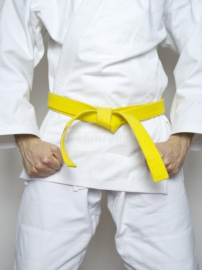 Stehende Kämpfergelbgurtkampfkunst-Weißklage stockbilder