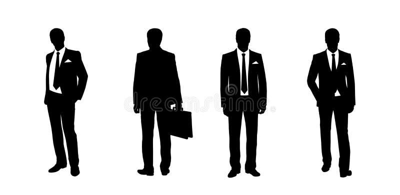 Stehende Schattenbilder des Geschäftsmannes stellten 3 ein vektor abbildung