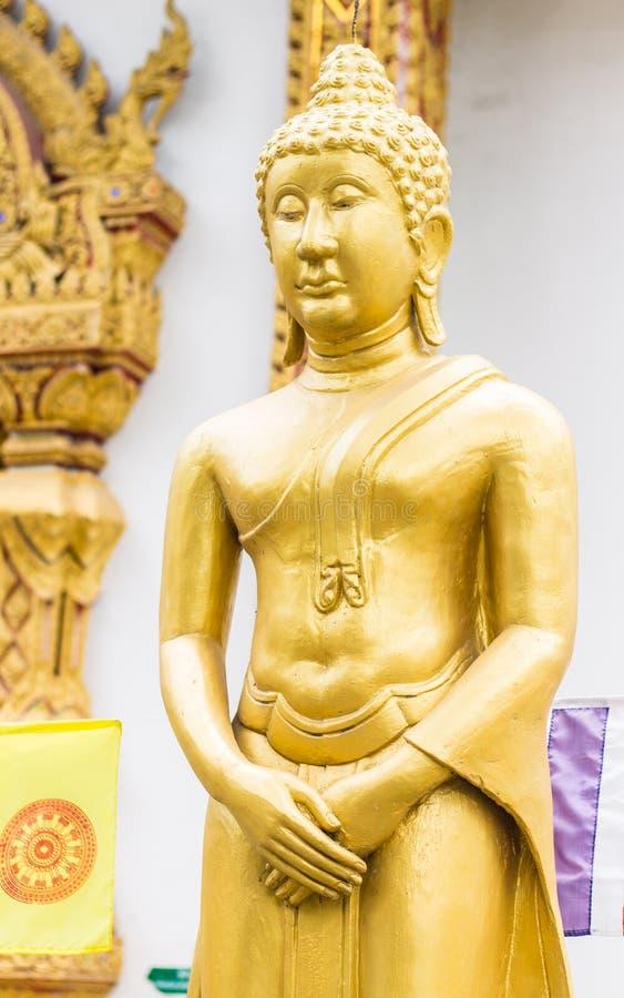 Stehende thailändische goldene Buddha-Statue stockfotos