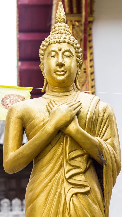 Stehende thailändische goldene Buddha-Statue stockbild