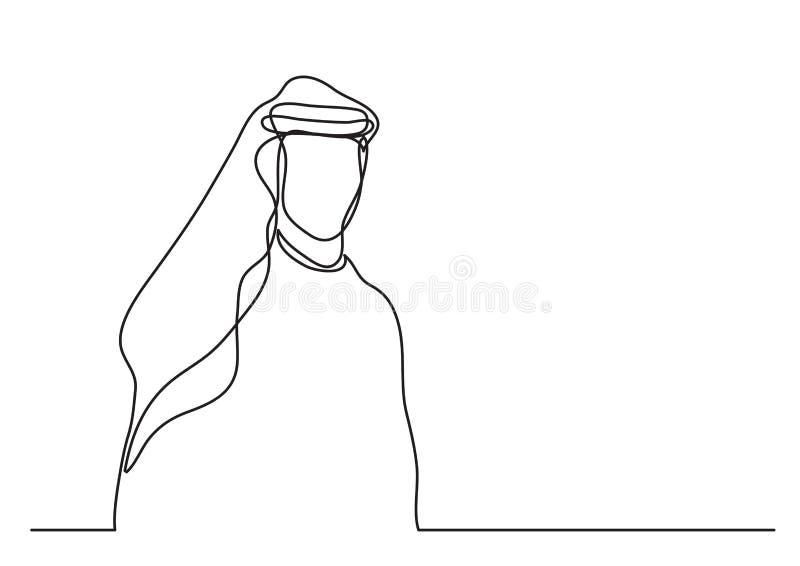 Stehender arabischer Mann Mittleren Ostens im keffiyeh - Federzeichnung der einzelnen Zeile - Federzeichnung der einzelnen Zeile lizenzfreie abbildung