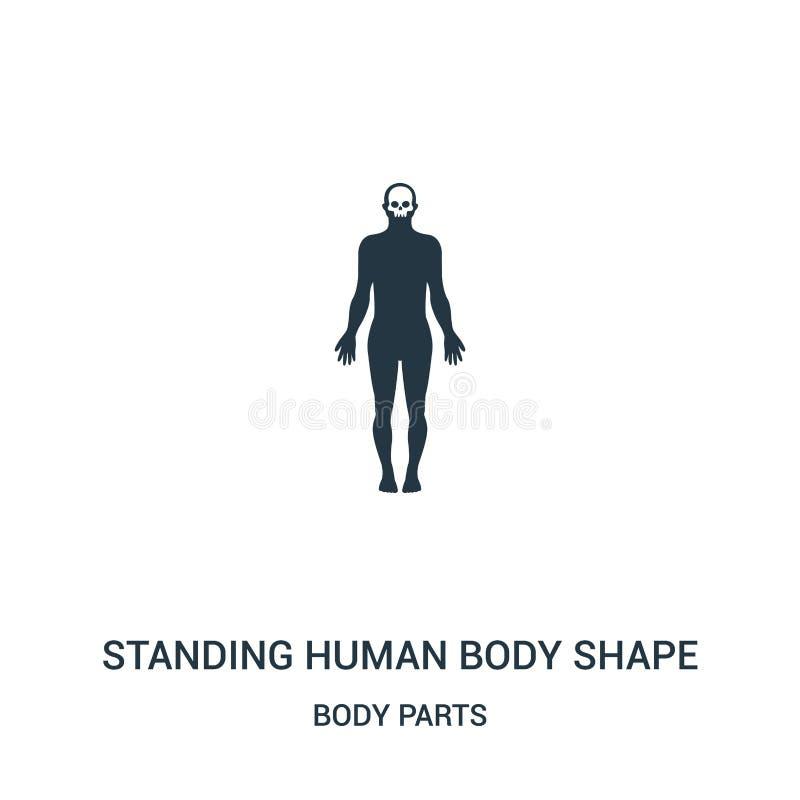 stehender Formikonenvektor des menschlichen Körpers von der Körperteilsammlung Dünne Linie, die Formentwurfs-Ikonenvektor des men lizenzfreie abbildung