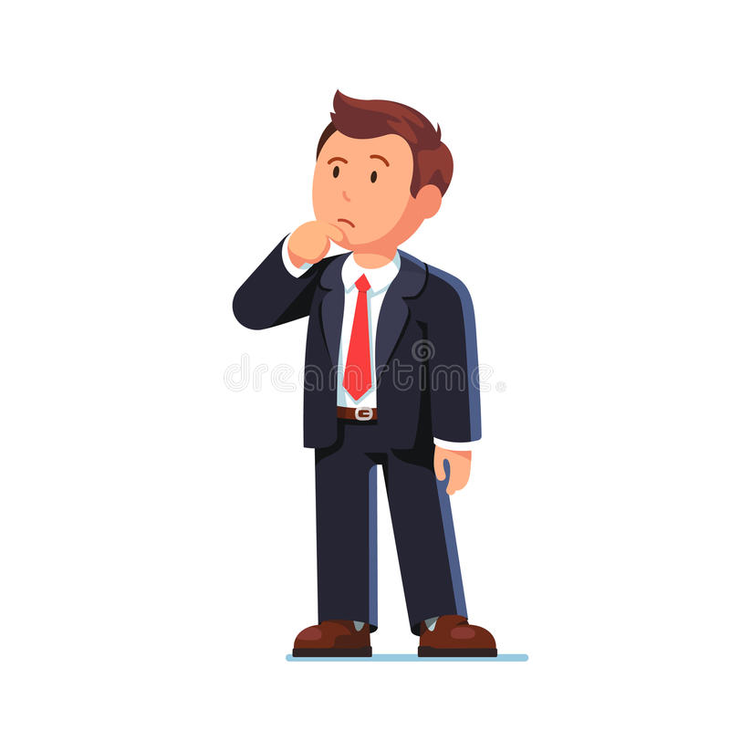 Stehender Geschäftsmann, der denkende Geste macht stock abbildung
