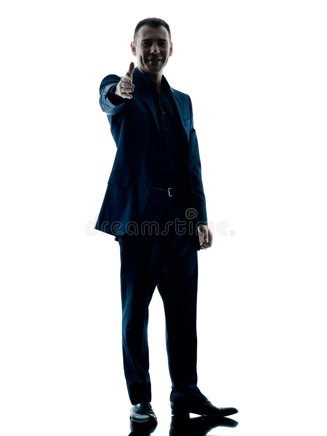 Stehender Händedruck des Geschäftsmannes lokalisiert lizenzfreie stockfotos
