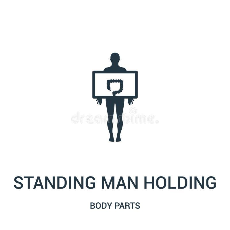 stehender Mann, der einen Dickdarmbild-Ikonenvektor von der Körperteilsammlung hält Dünne Linie Stellungsmann, der ein großes häl vektor abbildung