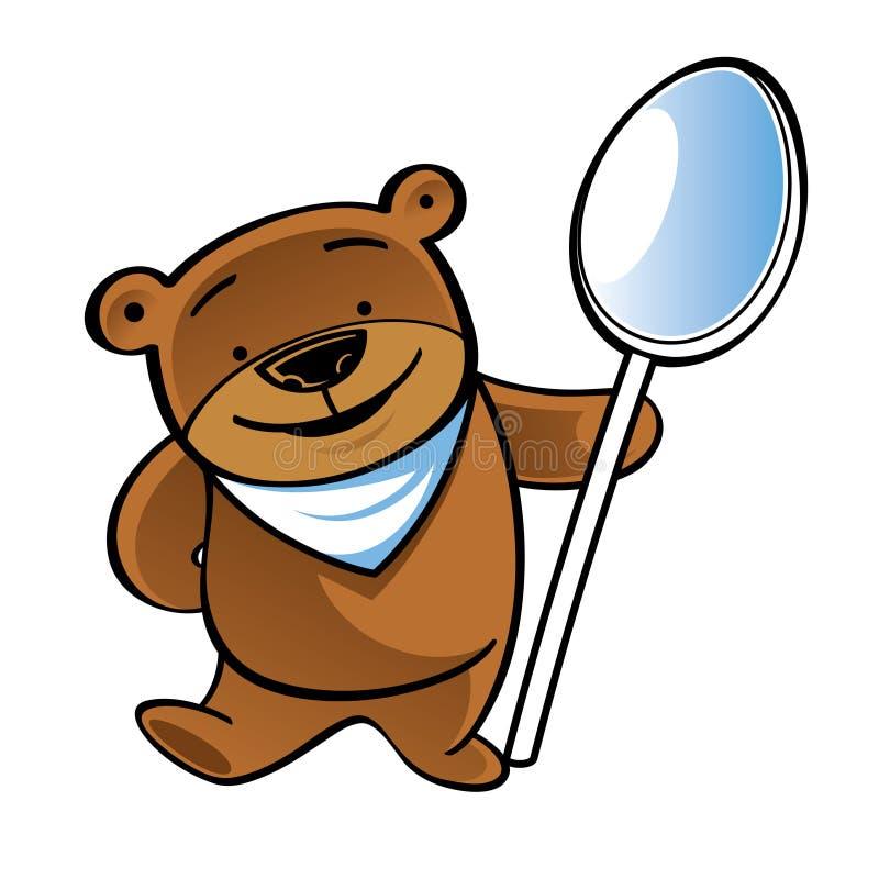 Stehender Teddybär mit großem Löffel stockfotografie