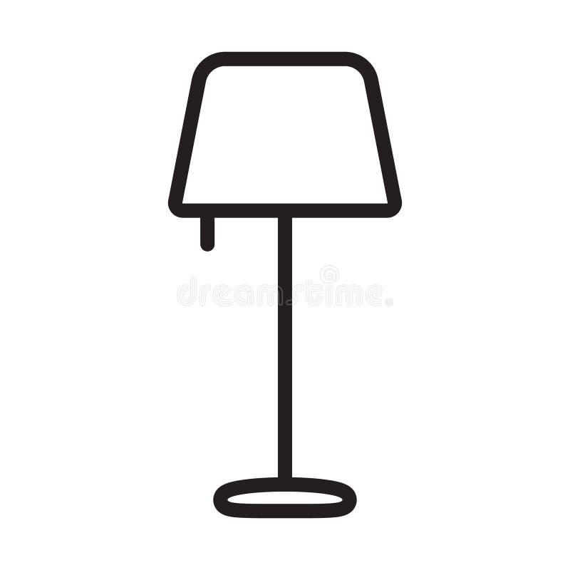Stehlampeentwurfsikone lineares Artzeichen f?r bewegliches Konzept und Webdesign Einfache Linie Vektorikone der Nachtlampe lizenzfreie abbildung