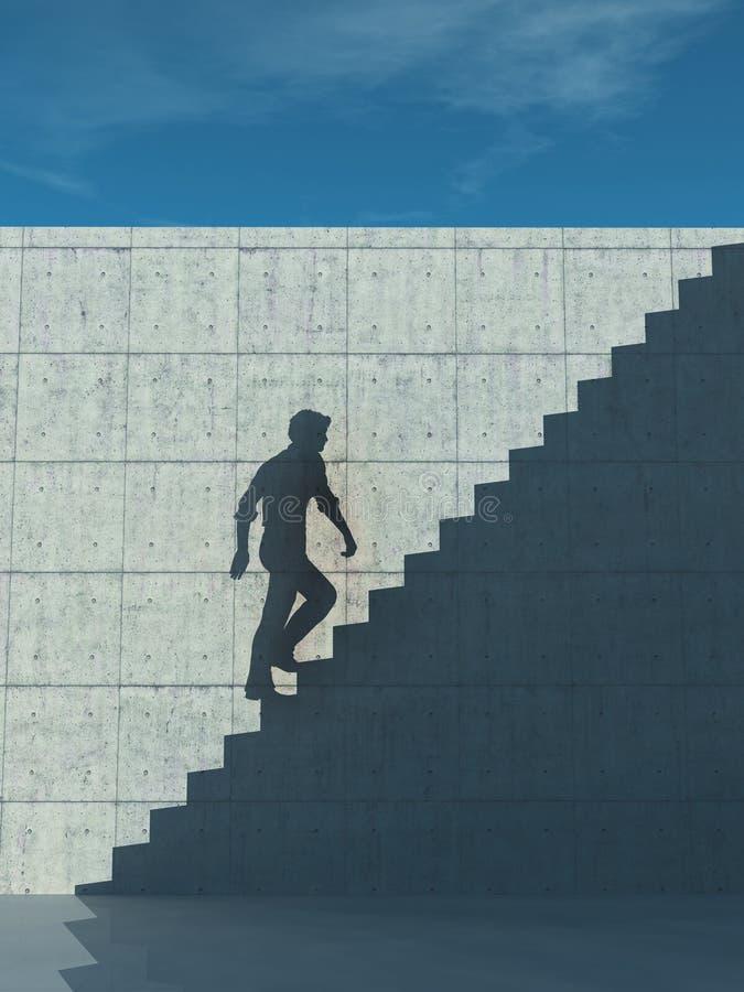Steigen oben auf Treppenschatten stock abbildung