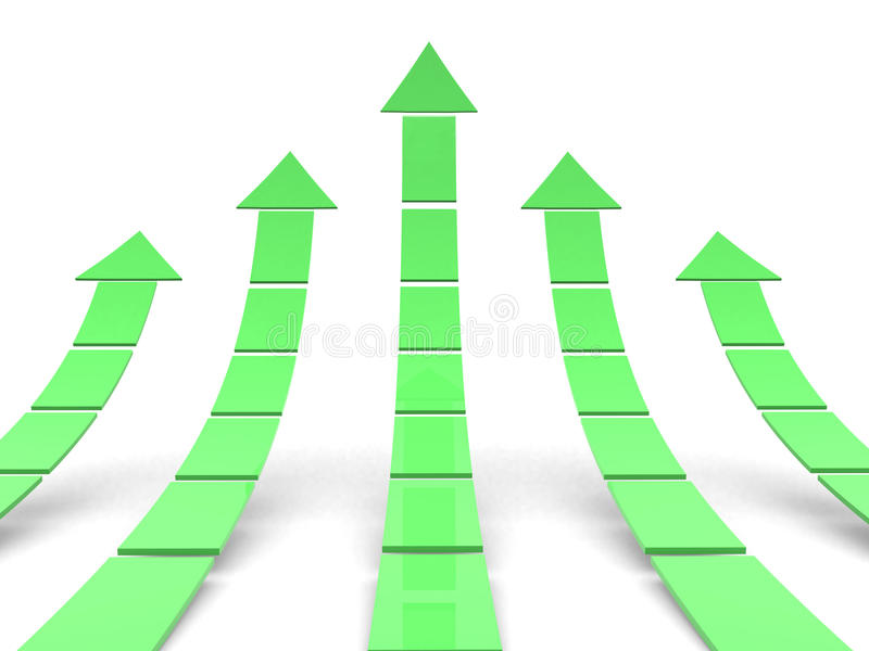 Steigende grüne Pfeile 3D vektor abbildung