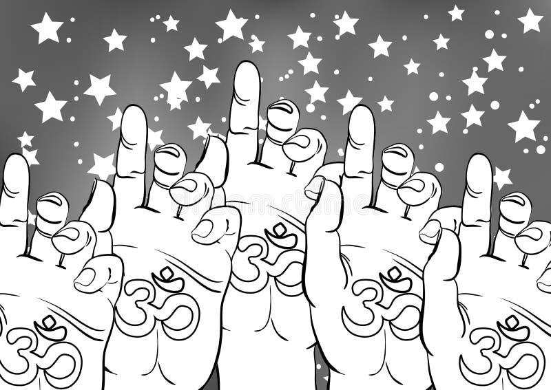 Steigende menschliche Hände mit geistigem Ohmsymbol Diwali auf der Palme Religiöses Konzept Kreative Illustration des Vektors vektor abbildung