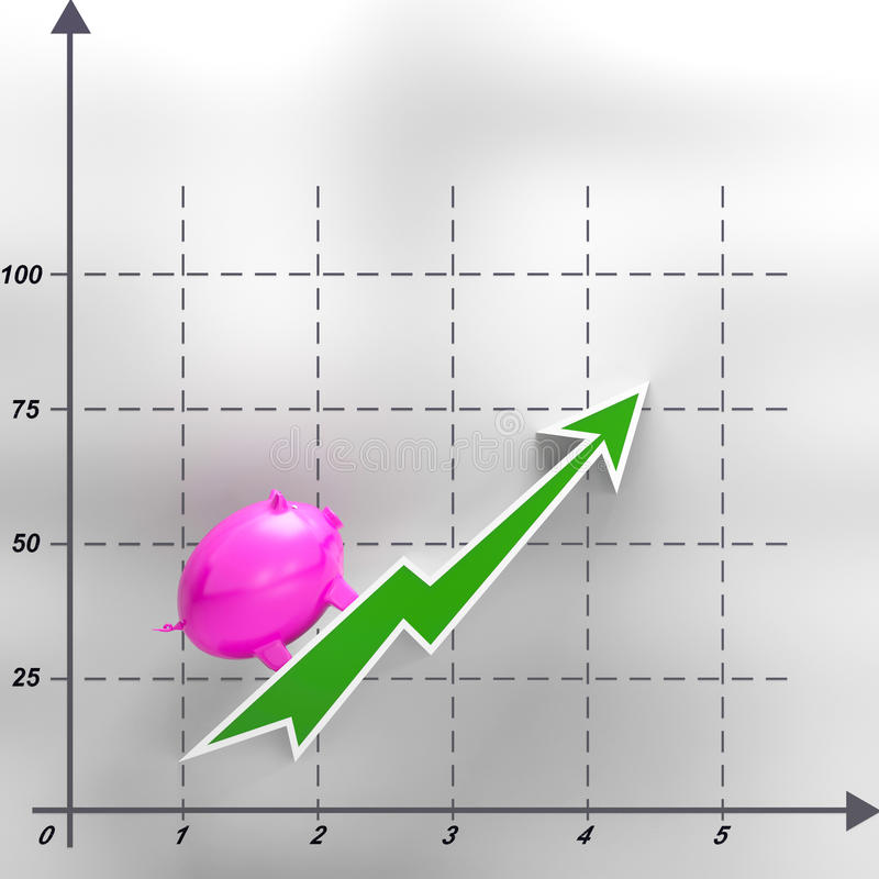 Steigende Piggy Show-lukrative Einkommen und Gewinne vektor abbildung