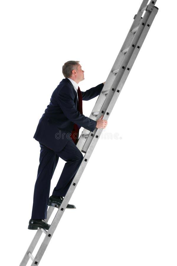 Steigende Seitenansicht der Strichleiter des Geschäftsmannes stockfotos