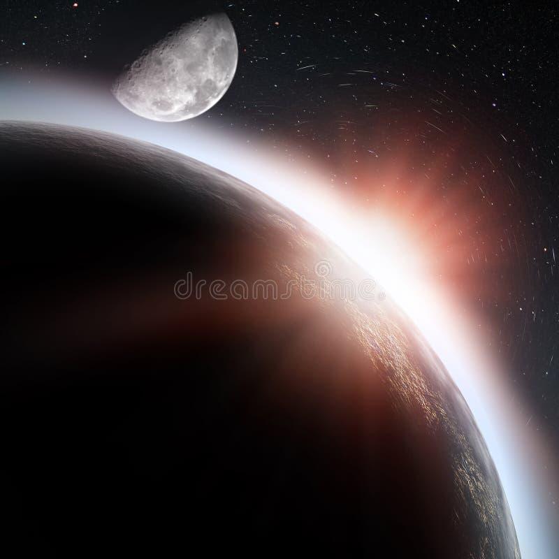 Steigende Sonne unter dem Erdeplaneten vektor abbildung