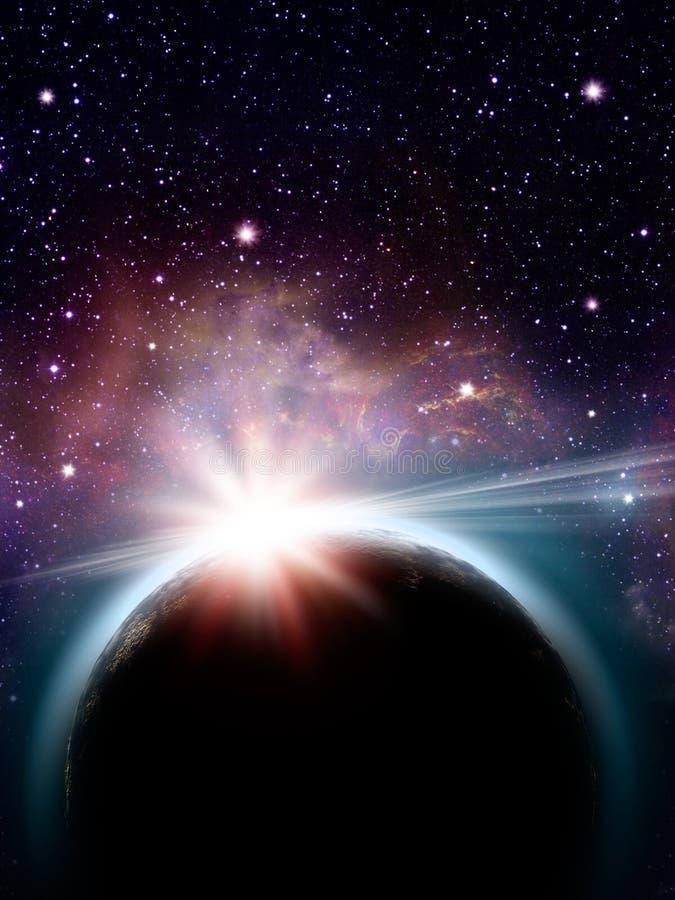Steigende Sonne unter dem Erdeplaneten lizenzfreie abbildung