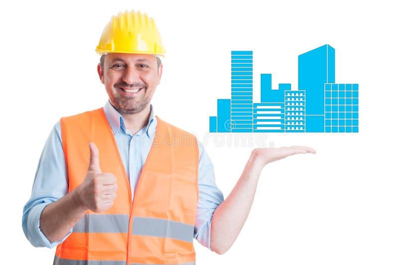 Steigender Daumen des erfolgreichen Ingenieurs oben lizenzfreie stockbilder