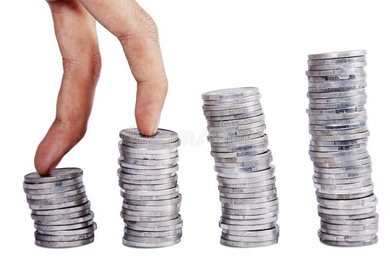 Steigender Münzenstab Lizenzfreies Stockbild