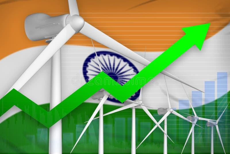 Steigendes Diagramm der Indien-Windenergie-Energie, Pfeil herauf - alternative industrielle Illustration der natürlichen Energie  stock abbildung