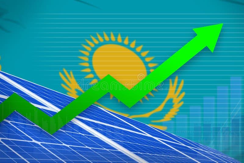 Steigendes Diagramm der Kasachstan-Solarenergieenergie, Pfeil herauf - moderne industrielle Illustration der natürlichen Energie  stock abbildung
